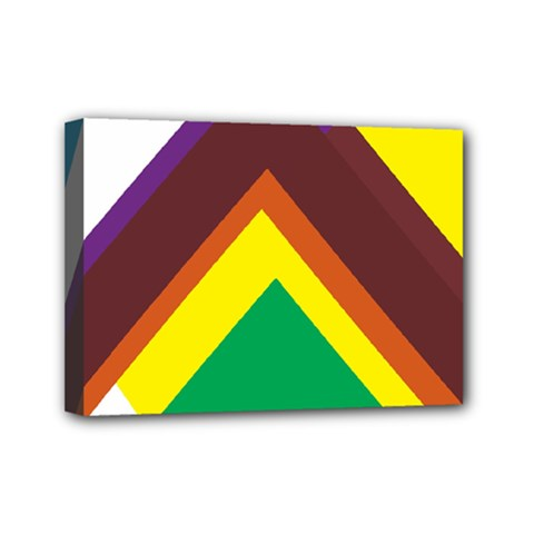 Triangle Chevron Rainbow Web Geeks Mini Canvas 7  X 5  by Mariart