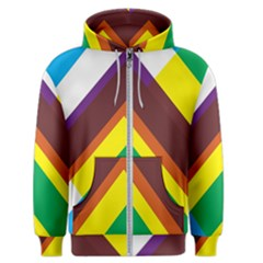 Triangle Chevron Rainbow Web Geeks Men s Zipper Hoodie by Mariart