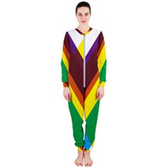 Triangle Chevron Rainbow Web Geeks Onepiece Jumpsuit (ladies)  by Mariart