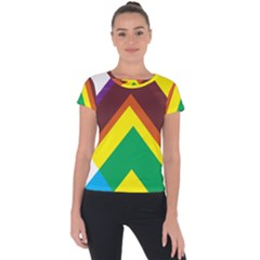 Triangle Chevron Rainbow Web Geeks Short Sleeve Sports Top  by Mariart