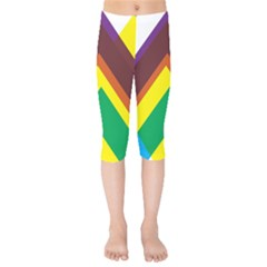 Triangle Chevron Rainbow Web Geeks Kids  Capri Leggings