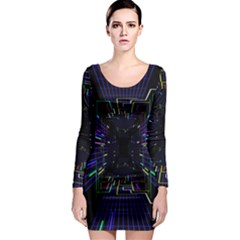 Seamless 3d Animation Digital Futuristic Tunnel Path Color Changing Geometric Electrical Line Zoomin Long Sleeve Bodycon Dress