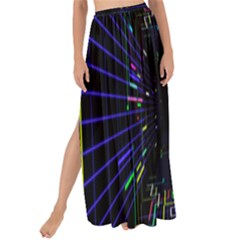 Seamless 3d Animation Digital Futuristic Tunnel Path Color Changing Geometric Electrical Line Zoomin Maxi Chiffon Tie Up Sarong