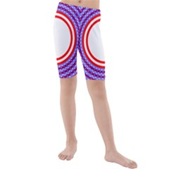 Stars Stripes Circle Red Blue Space Round Kids  Mid Length Swim Shorts by Mariart