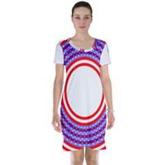 Stars Stripes Circle Red Blue Space Round Short Sleeve Nightdress by Mariart