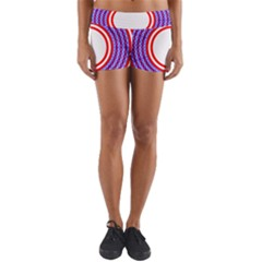 Stars Stripes Circle Red Blue Space Round Yoga Shorts by Mariart