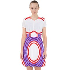 Stars Stripes Circle Red Blue Space Round Adorable In Chiffon Dress
