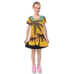 Sunset Summer Kids  Short Sleeve Velvet Dress