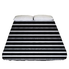 Tribal Stripes Black White Fitted Sheet (queen Size)