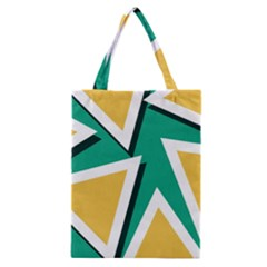 Triangles Texture Shape Art Green Yellow Classic Tote Bag by Mariart
