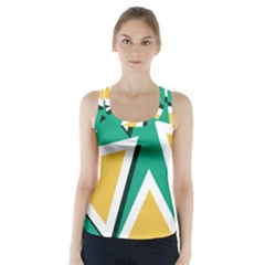 Triangles Texture Shape Art Green Yellow Racer Back Sports Top