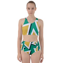 Triangles Texture Shape Art Green Yellow Racer Back Bikini Set by Mariart