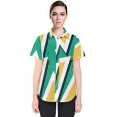 Triangles Texture Shape Art Green Yellow Women s Short Sleeve Shirt