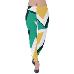 Triangles Texture Shape Art Green Yellow Velvet Leggings