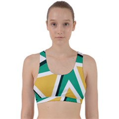 Triangles Texture Shape Art Green Yellow Back Weave Sports Bra