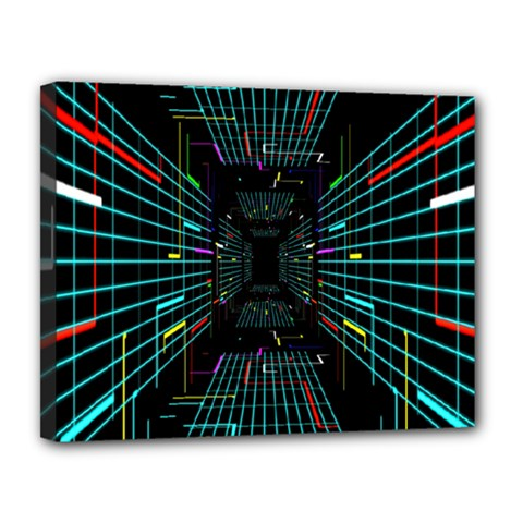 Seamless 3d Animation Digital Futuristic Tunnel Path Color Changing Geometric Electrical Line Zoomin Canvas 14  X 11  by Mariart
