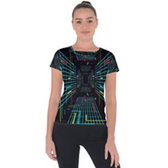 Seamless 3d Animation Digital Futuristic Tunnel Path Color Changing Geometric Electrical Line Zoomin Short Sleeve Sports Top  by Mariart