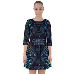 Seamless 3d Animation Digital Futuristic Tunnel Path Color Changing Geometric Electrical Line Zoomin Smock Dress