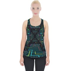 Seamless 3d Animation Digital Futuristic Tunnel Path Color Changing Geometric Electrical Line Zoomin Piece Up Tank Top