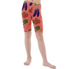 Vegetable Carrot Tomato Pumpkin Eggplant Kids  Mid Length Swim Shorts by Mariart