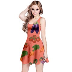 Vegetable Carrot Tomato Pumpkin Eggplant Reversible Sleeveless Dress by Mariart