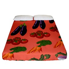 Vegetable Carrot Tomato Pumpkin Eggplant Fitted Sheet (california King Size) by Mariart