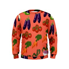 Vegetable Carrot Tomato Pumpkin Eggplant Kids  Sweatshirt by Mariart