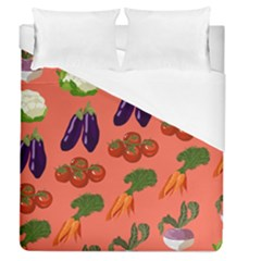 Vegetable Carrot Tomato Pumpkin Eggplant Duvet Cover (queen Size) by Mariart