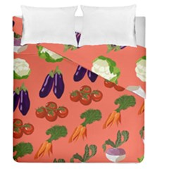 Vegetable Carrot Tomato Pumpkin Eggplant Duvet Cover Double Side (queen Size) by Mariart