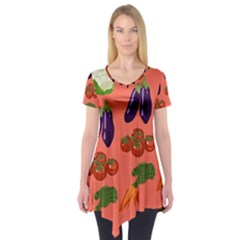 Vegetable Carrot Tomato Pumpkin Eggplant Short Sleeve Tunic  by Mariart