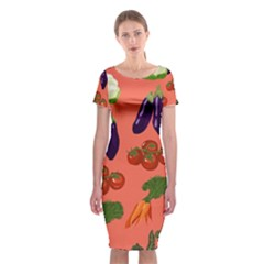 Vegetable Carrot Tomato Pumpkin Eggplant Classic Short Sleeve Midi Dress by Mariart