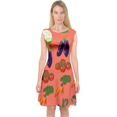 Vegetable Carrot Tomato Pumpkin Eggplant Capsleeve Midi Dress by Mariart