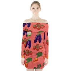 Vegetable Carrot Tomato Pumpkin Eggplant Long Sleeve Off Shoulder Dress by Mariart