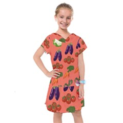 Vegetable Carrot Tomato Pumpkin Eggplant Kids  Drop Waist Dress by Mariart