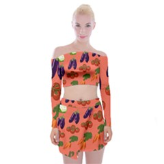 Vegetable Carrot Tomato Pumpkin Eggplant Off Shoulder Top With Skirt Set by Mariart