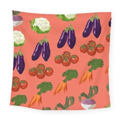 Vegetable Carrot Tomato Pumpkin Eggplant Square Tapestry (large) by Mariart
