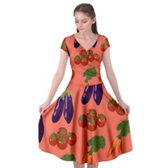Vegetable Carrot Tomato Pumpkin Eggplant Cap Sleeve Wrap Front Dress by Mariart