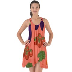 Vegetable Carrot Tomato Pumpkin Eggplant Show Some Back Chiffon Dress by Mariart