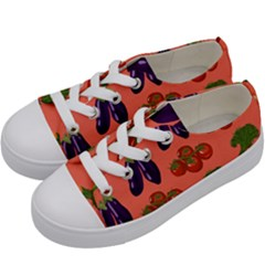 Vegetable Carrot Tomato Pumpkin Eggplant Kids  Low Top Canvas Sneakers by Mariart