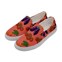Vegetable Carrot Tomato Pumpkin Eggplant Women s Canvas Slip Ons by Mariart