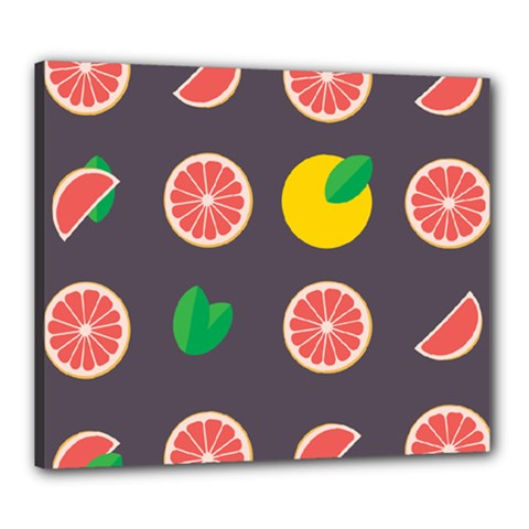Wild Textures Grapefruits Pattern Lime Orange Canvas 24  X 20  by Mariart