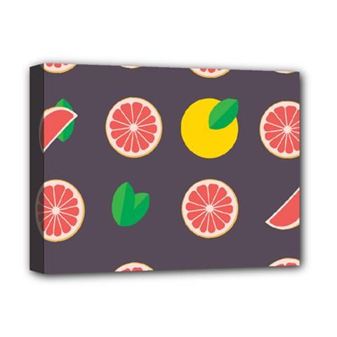 Wild Textures Grapefruits Pattern Lime Orange Deluxe Canvas 16  X 12   by Mariart