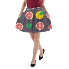 Wild Textures Grapefruits Pattern Lime Orange A-line Pocket Skirt by Mariart