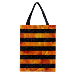Stripes2 Black Marble & Fire Classic Tote Bag by trendistuff