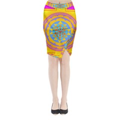 Triangle Orange Pink Midi Wrap Pencil Skirt by Mariart