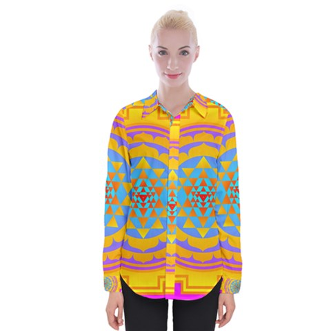 Triangle Orange Pink Womens Long Sleeve Shirt by Mariart