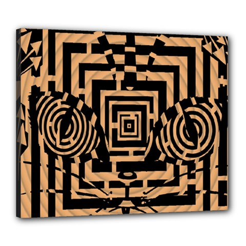 Wooden Cat Face Line Arrow Mask Plaid Canvas 24  X 20  by Mariart