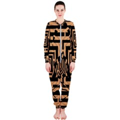 Wooden Cat Face Line Arrow Mask Plaid Onepiece Jumpsuit (ladies)
