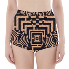 Wooden Cat Face Line Arrow Mask Plaid High-waisted Bikini Bottoms by Mariart