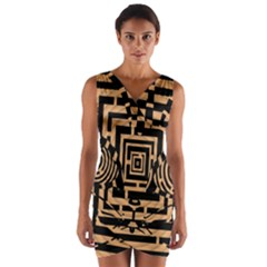 Wooden Cat Face Line Arrow Mask Plaid Wrap Front Bodycon Dress by Mariart
